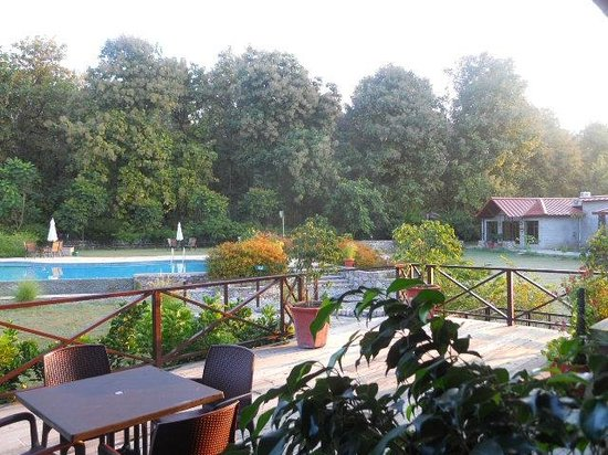 Aahana the Corbett Wilderness: breakfast by the pool