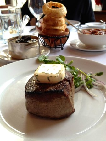 Porter House : Filet Mignon with - Truffle Mash, Buttermilk Onion Rings & Mr Pete's Creamed Spinach
