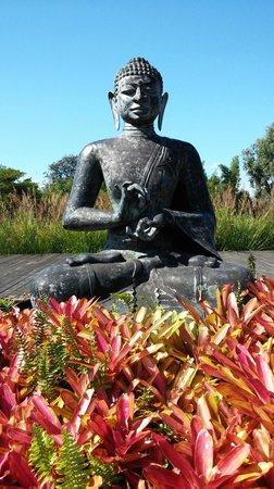 Lumeria Maui Retreat : Big Buddha in outdoor yoga courtyard