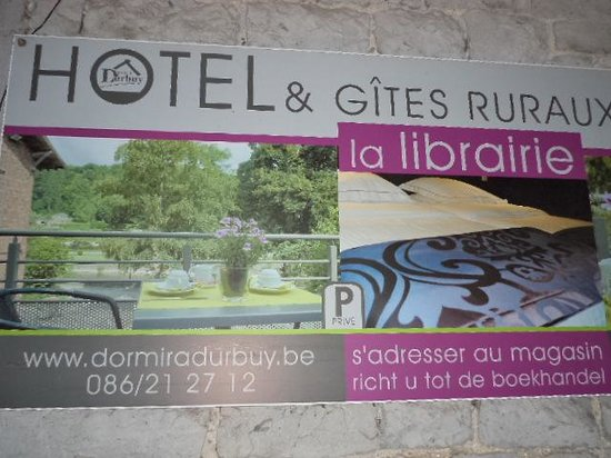Hotel La Librairie: Reklame bord van het hotel