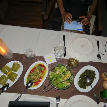 Happy Caretta Hotel : A sample of the delicious meza before the main course. That's me checking my emails before dinne