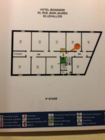 Hotel Boissiere: plan de l'étage