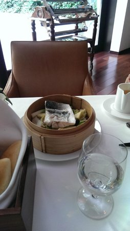 The Square: Steamed sea bass
