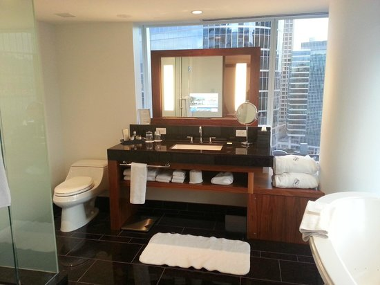 Fairmont Pacific Rim: Bathroom, with a TV in the mirror!