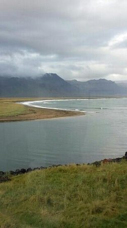 Budir, Iceland: picturesque view along the shore from the hotel