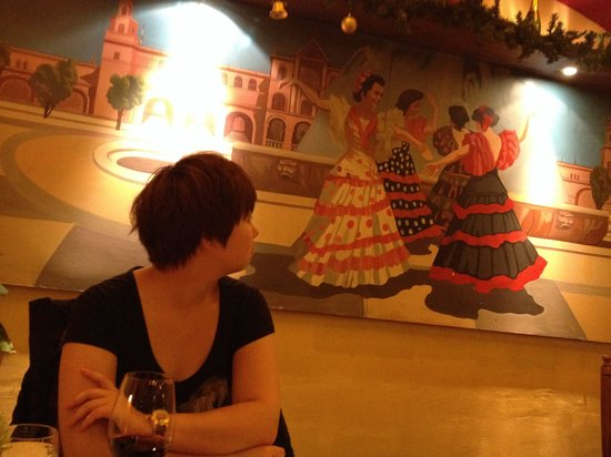 Steakhouse ASADOR: Good wall painting and my nice looking girl;)