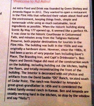 Ad Astra: Restaurant history