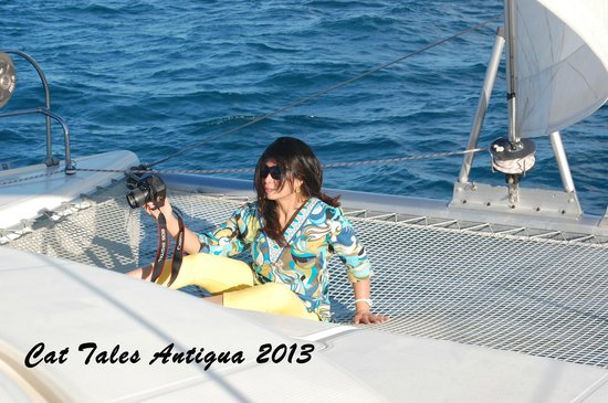 Tropical Catamaran Sailing Day Tours: My Diva wife on the catamaran trampoline