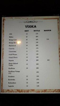 Buyan: Vodka Menu