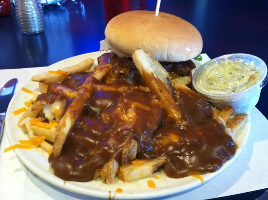 Flying Saucer Drive-In: Great Canadian Burger w/ poutine fries & cole slaw