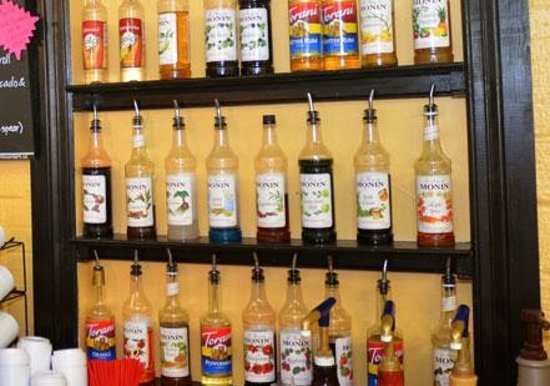 CJ's Coffee Cafe: Check out these syrups! We've got 30+ flavors in all.