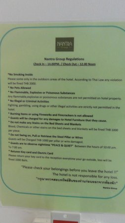 Nantra De Comfort: Hotel rules