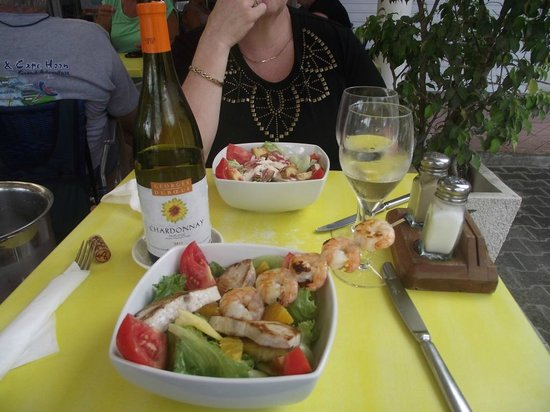 Fresh salads and good wine at the Aloe Cafe