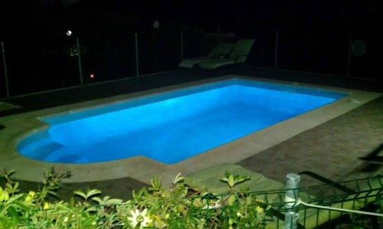 Alojamientos Rurales Berrocal: Piscina de noche.