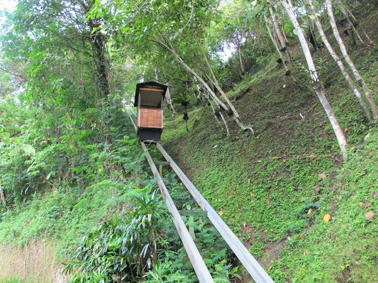 Hanging Gardens of Bali: Funicular to lower levels of the property