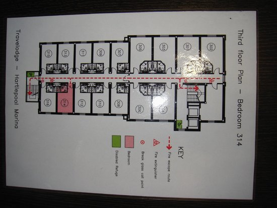 Travelodge Hartlepool Marina Hotel: 3rd floor plan ... room 314 over looks train station/lines