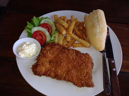 A.M.D Restaurant : The very tasty and superbly crumbed pork schnitzel