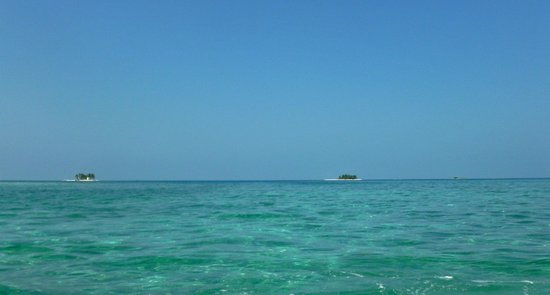This photo shows all three of the Silk Cayes taken from the reef.