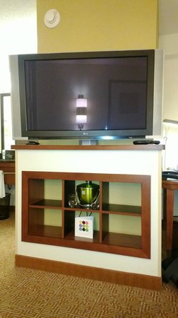 Hyatt Place Lexington: The ice buket and water glasses are hidden below the TV here.