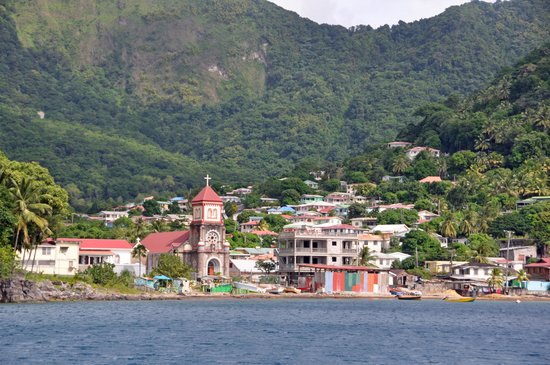 Nature Island Dive Resort: View from our dive site to Soufriere