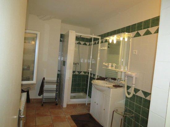 La Commanderie Des Taillades : très belle salle de bain avec douche spacieuse