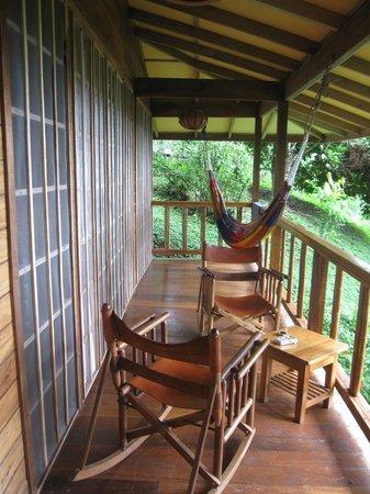 Samasati Retreat & Rainforest Sanctuary : Bungalow 5 porch overlooking Caribbean