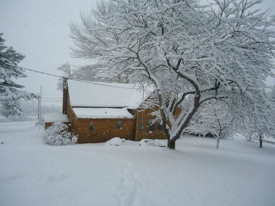 Cajun Cedar Log Cottages: Office in the Winter