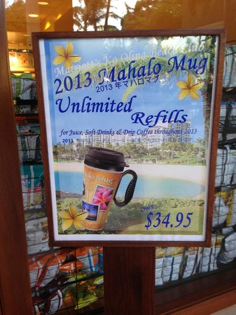 Marriott's Ko Olina Beach Club: Unlimited drink mugs 'out of stock'
