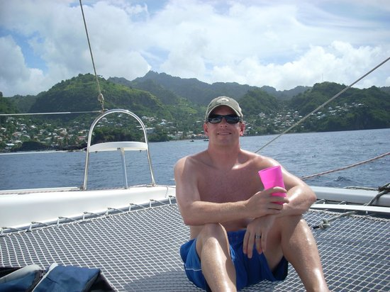 Oasis Marigot: relaxing up front on the trampoline