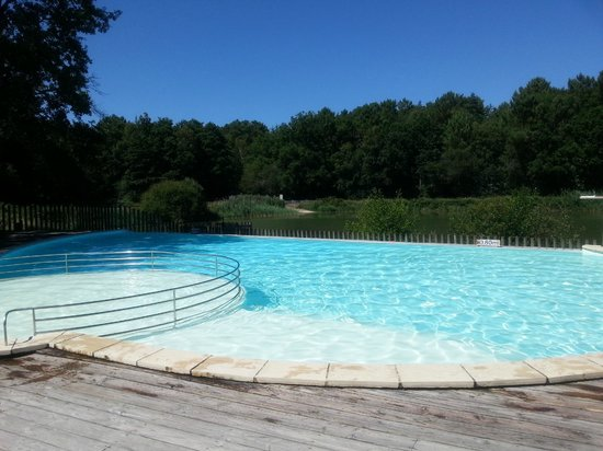 Camping Huttopia Rillé : Pool in the morning overlooking the lake