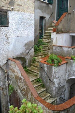 B&B La Terrazza del Poeta: Vista dalla finestra sulle scale