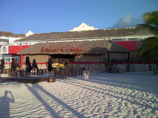 Señor Frog's Playa del Carmen: view from beach early morning