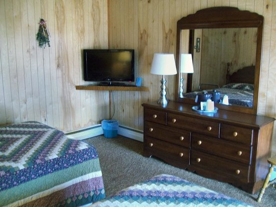 Cave Mountain Motel: TV and room interior