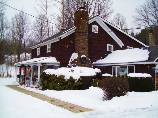 Cave Mountain Motel: Motel in Front, winter