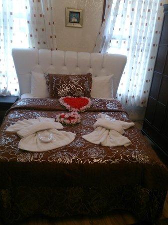 Ottoman Elegance Hotel : odaya girdiğimizde karşılastığımız güzel yatak manzarası