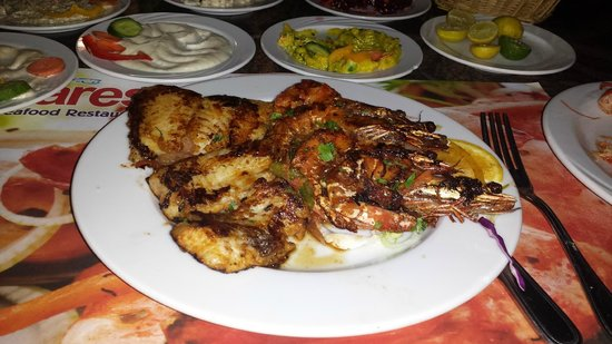 Fares Seafood: shrimps and grilled fish