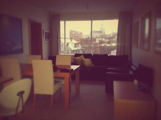 Downtown Reykjavik Apartments : Our apartment dining/living area with the lovely view of Hallgrímskirkja