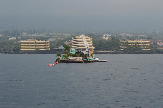 View of Royal Kona Resort from sunset cruise - All Three Buildings are the resort.