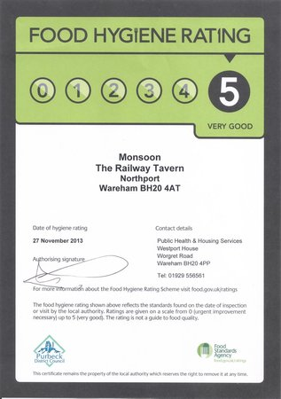 Monsoon Indian Cuisine: 5* Hygiene Certificate