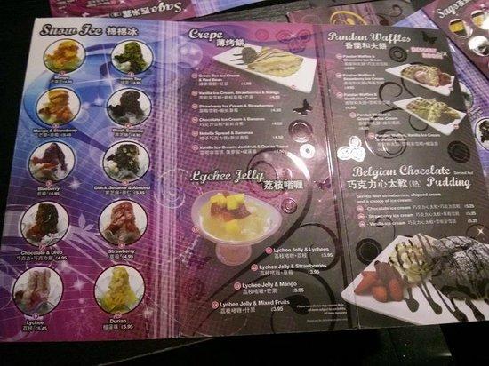 Wasabi Sushi and Noodle Bar: desseerrt menu