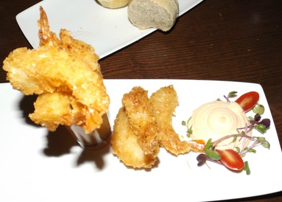The Nest Bistro: Crunchy Prawns    Flash fried filo shrimp served with lemongrass dipping sauce and chipotle mayo