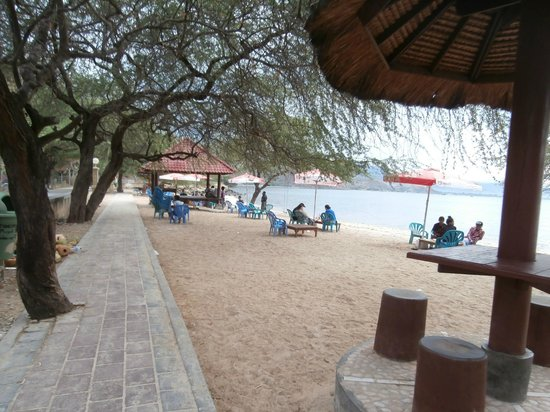 Caz Bar & Restaurant : Beach in front of Caz Bar - showing shelters, tables, chairs