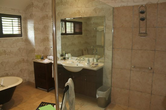 Silverstream Lodge: Spacious well-appointed bathroom with separate bath