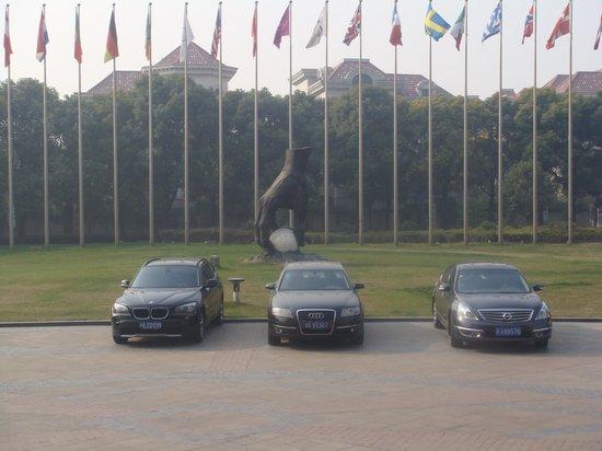 Crowne Plaza Hotel Lake Malaren : Hand placing golf ball on a tee sculpture