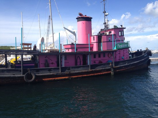 Pink Iguana: It's a 100 year old tug. Built of cast iron and was originally steam powered. So cool, worth a s