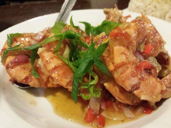 Ocho Seafood Grill : Garlic & ginger prawns