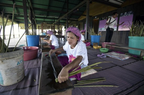 Lotus Farm by Samatoa: She peels off the fibers from the stalks gently, rolls them and it's made into delicate fabric.
