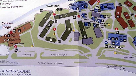 Map - Picture of Denali Princess Wilderness Lodge, McKinley Village Denali Hotels Map on