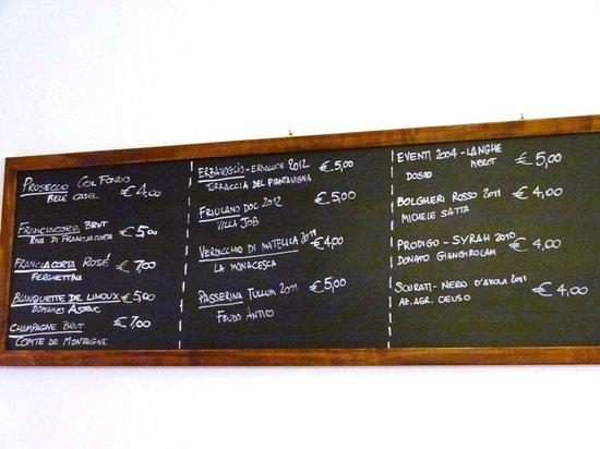 Il Sori: Ценник на вино по бокалам