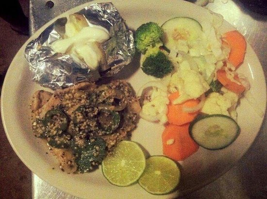 Mom's Backyard Restaurant & Bar: Grilled Fish Fillet with Steam Vegetables and Bake Potato